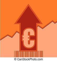 Euro sign on grow up arrow and bar code