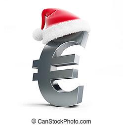 euro sign santa hat on a white background