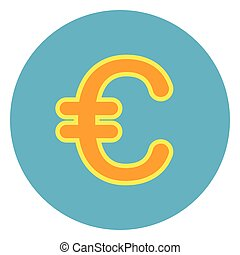 Euro Sign Sign Icon On Blue Round Background