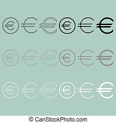 Euro sign simple and in round icon.