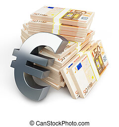 euro sign stacks of dollars on a white background