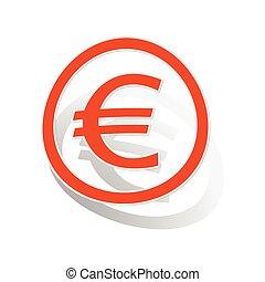 Euro sign sticker, orange