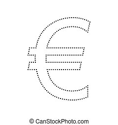 Euro sign. Vector. Black dotted icon on white background. Isolated.