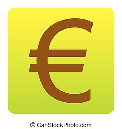 Euro sign. Vector. Brown icon at green-yellow gradient square with rounded corners on white background. Isolated.