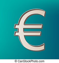 Euro sign. Vector. Icon printed at 3d on sea color background.