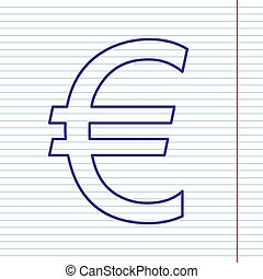 Euro sign. Vector. Navy line icon on notebook paper as background with red line for field.