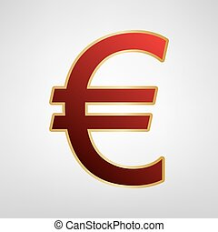 Euro sign. Vector. Red icon on gold sticker at light gray background.
