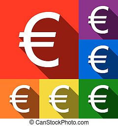 Euro sign. Vector. Set of icons with flat shadows at red, orange, yellow, green, blue and violet background.