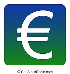 Euro sign. Vector. White icon at green-blue gradient square with rounded corners on white background. Isolated.