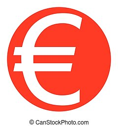 Euro sign. Vector. White icon in red circle on white background. Isolated.