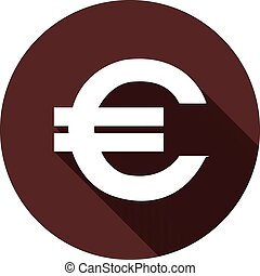 EURO sign with a shadow on a circle of dark red color, vector