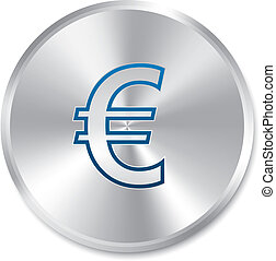 Euro silver sign. Isolated currency icon.