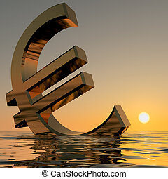 Euro Sinking And Sunset Showing Depression Recession And...