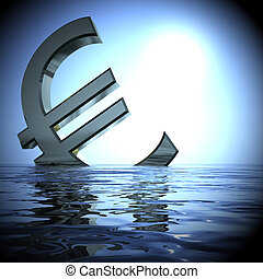 Euro Sinking In The Sea Showing Depression Recession 3d Rendering