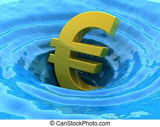 euro, sinks., crisis, 3d, concepto