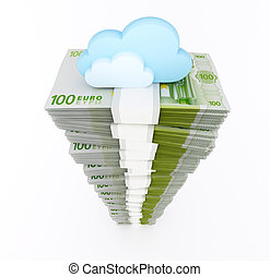 Euro stack with cloud
