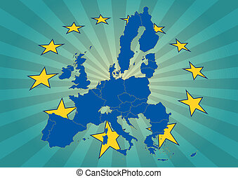euro star - illustration of europe map with yellow stars