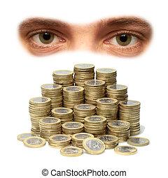 Euro - Eyes seeing a mountain with euro coins.