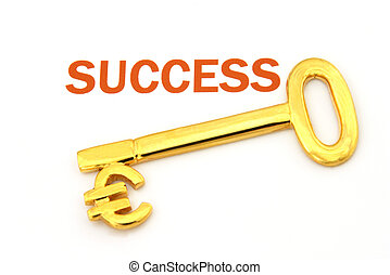 "A gold key with the word ""success"" and the euro symbol"