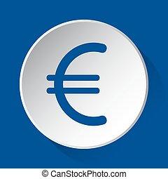 euro symbol - blue icon on white button