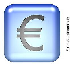 euro symbol button blue