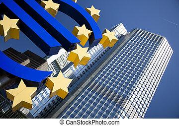 Euro symbol - Euro symbol in european central bank in...