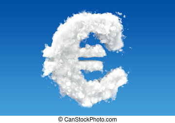 Euro symbol from clouds in the sky. 3D rendering