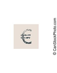Euro Symbol. Grunge Style Icon.