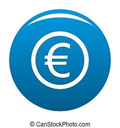Euro symbol icon blue