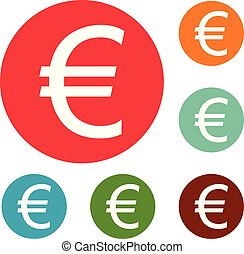 Euro symbol icons circle set vector