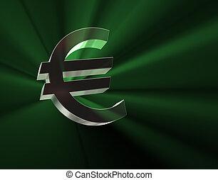 Euro symbol in green lights.