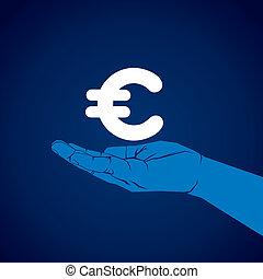 euro symbol in hand