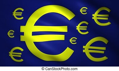 Euro symbol moves on the fabric of the flag