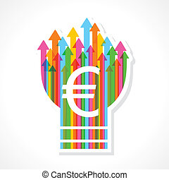 Euro symbol on colorful arrow bulb stock vector