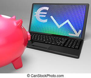 Euro Symbol On Laptop Showing European Looses