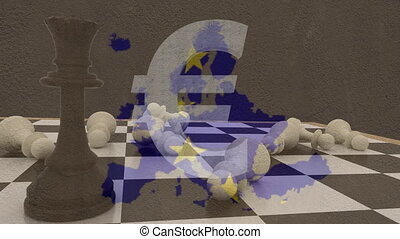 Animation of map of Europe, European Union flag with yellow stars, chess and Euro currency symbol in the background. European community economy concept digitally generated image.