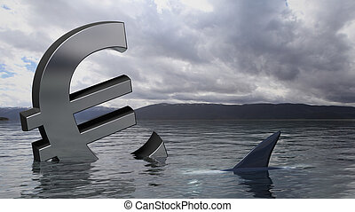 Euro symbol sinking in the water