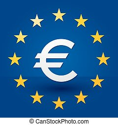 euro symbol with blue background and stars in the flag