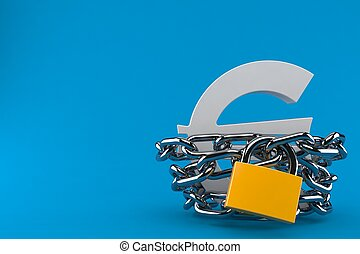 Euro symbol with chain and padlock