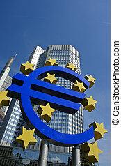 Euro symbol with European central bank, Frankfurt am Main -...