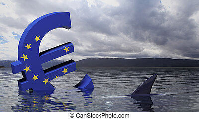 Euro symbol with European union flag sinking in the water