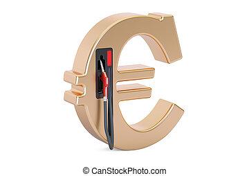 Euro symbol with fuel pump nozzle, 3D rendering