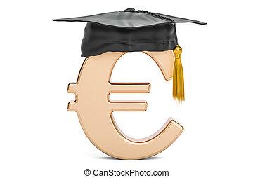 Euro symbol with graduation cap, 3D rendering