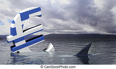 Euro symbol with Greek flag sinking in the water