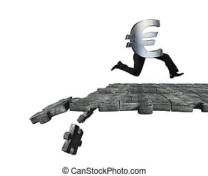 Euro symbol with human legs running on breaking puzzle ground