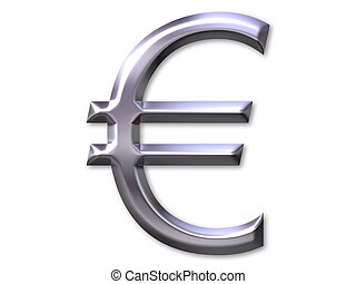 Euro symbol with silver bevel on white background