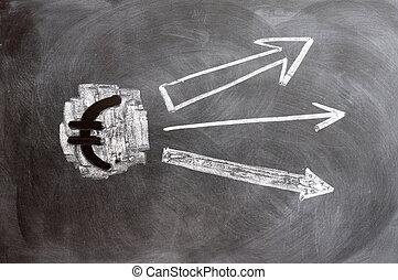 Euro symbol with up arrows written on blackboard