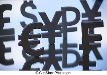 euro, symboles, dollar, yen
