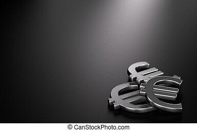Euro Symbols Over Black, Finance Background Image