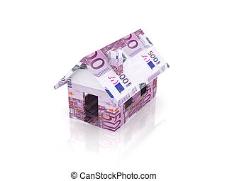 Euro Toy House - 3D Illustration. Isolated on white.